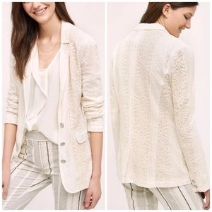 Anthropologie Cartonnier Lupe Lace Blazer Jacket M